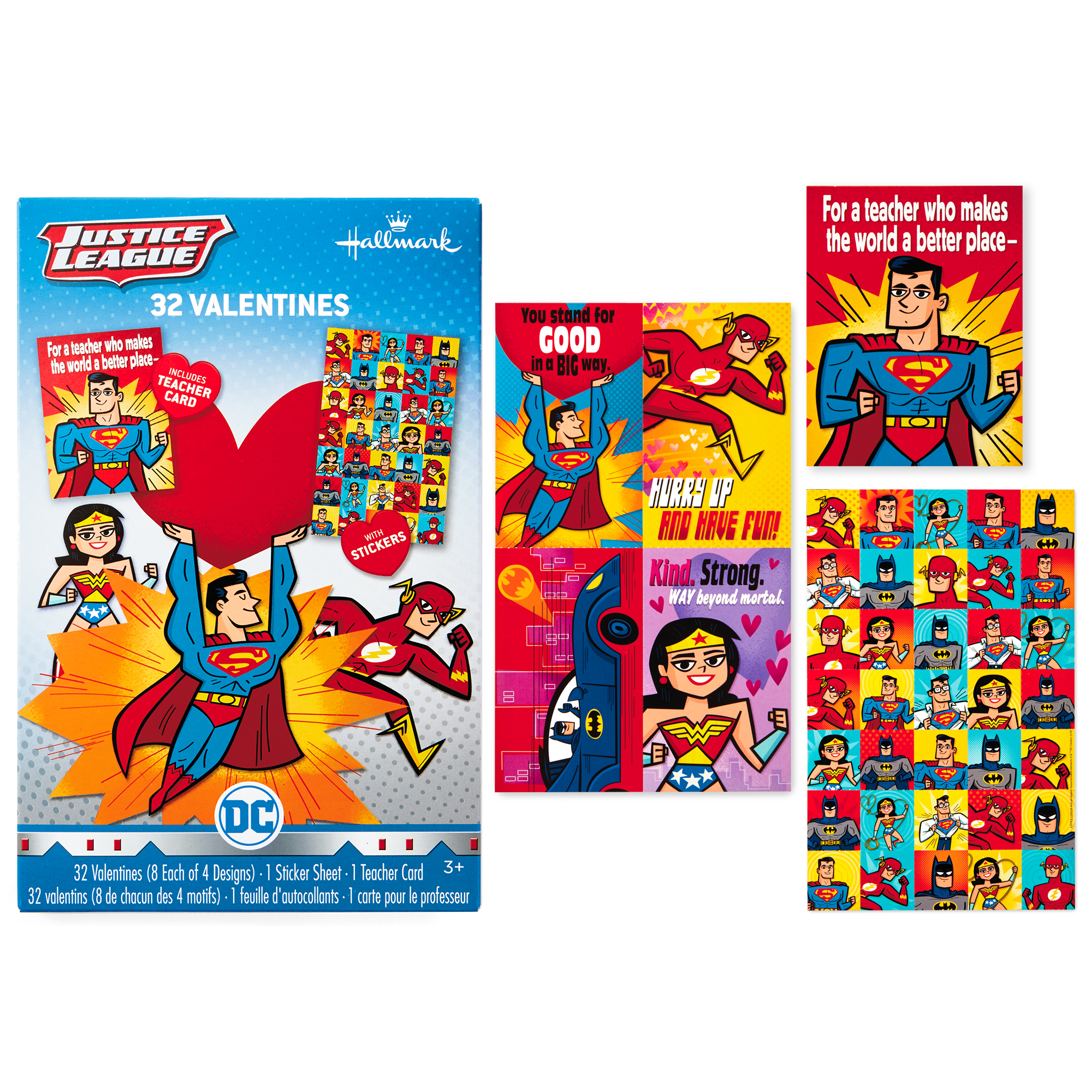 Hallmark Justice League Valentine's Day Cards (32 Cards, 35 Stickers, 1 Teacher Card)