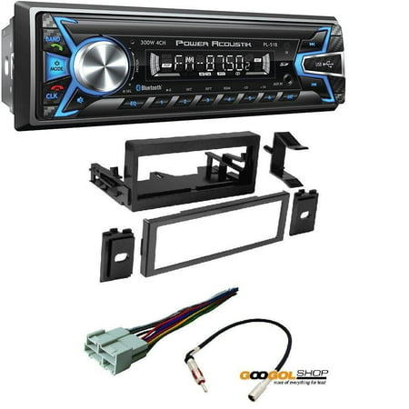 Power Acoustik PL-51B 1-DIN Digital Audio Head Unit With 32GB USB/SD/AUX/Bluetooth CAR STEREO RECEIVER DASH INSTALL MOUNTING KIT WIRE HARNESS CADILLAC CHEVROLET GMC 1995- (No Power Antenna Wire On Head Unit)