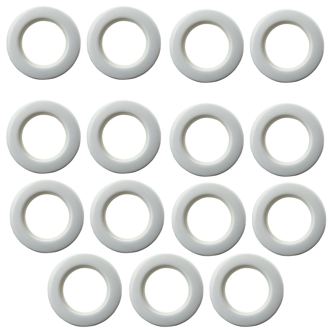 Bathroom Shower Plastic Curtain Ring Hook Sliding Hangers Silver Tone 15Pcs