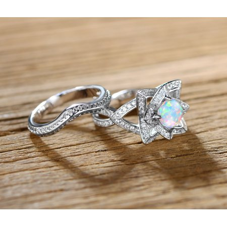 Opal October Birthstone Ring (Fire Opal Flower Ring Set)