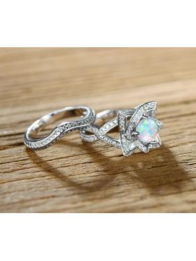 Fire Opal Flower Ring Set