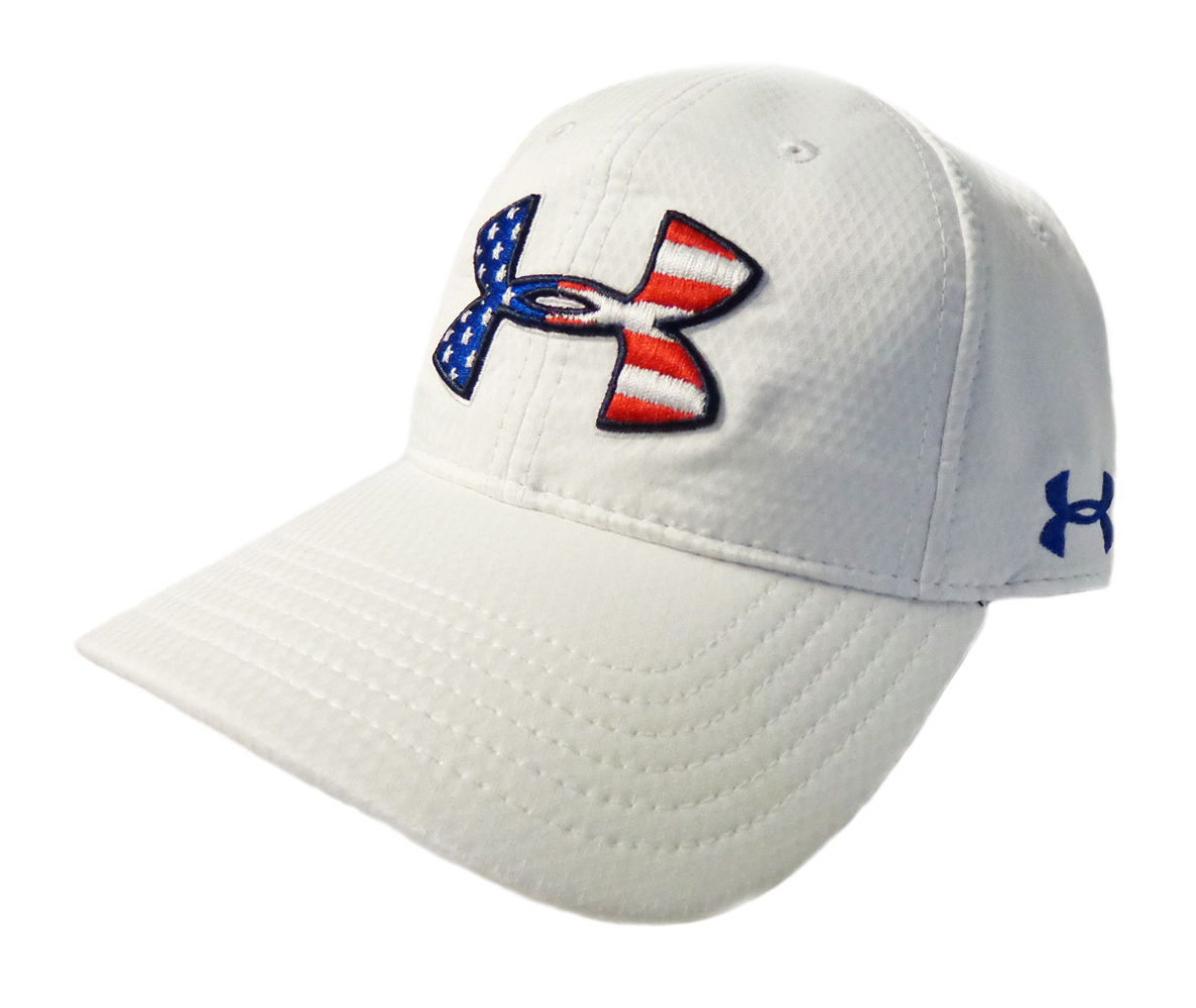 411d9a8893c ... real new under armour heat gear performance usa flag logo adjustable  white golf hat f989a a4bf8