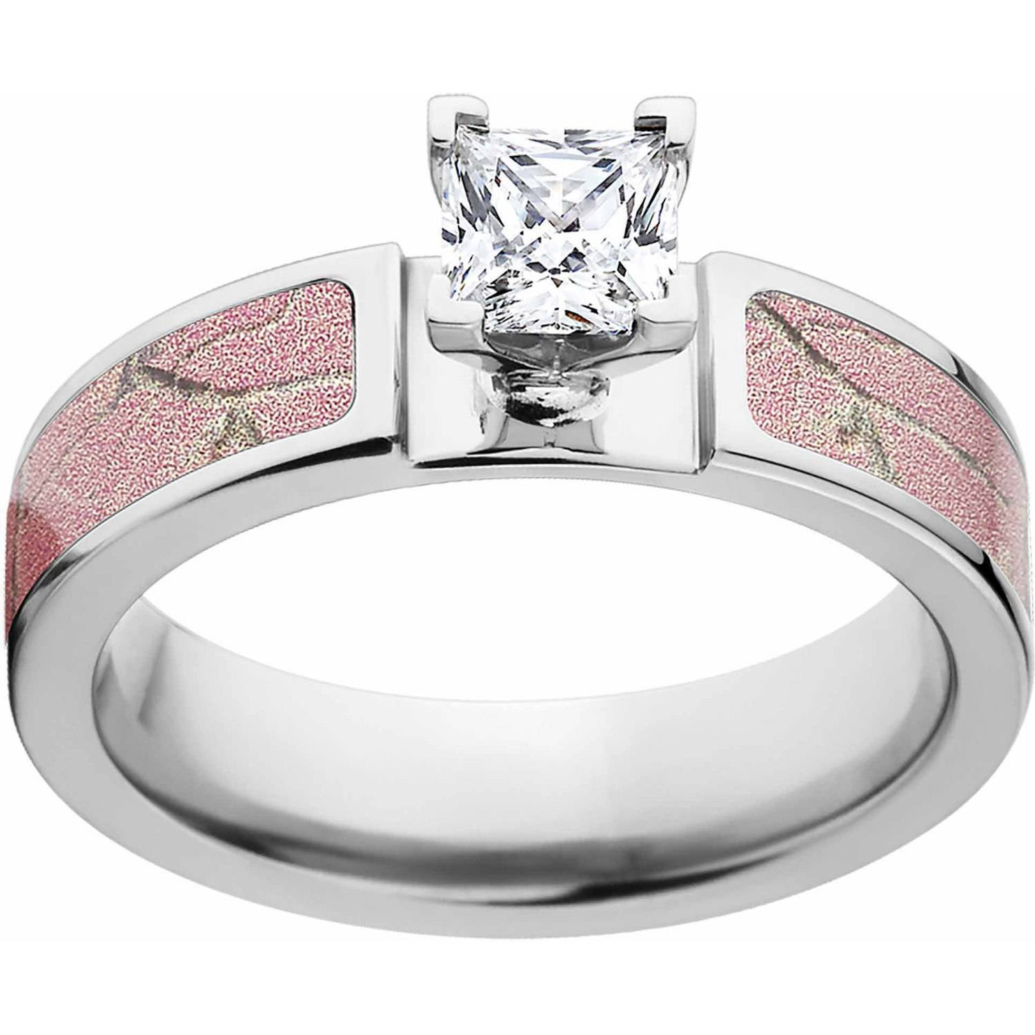 Realtree AP Pink Women's Camo 1 Carat T.G.W. Princess CZ in 14kt Whit Gold Prong Setting Cobalt Engagement Ring with Polished Edges and Deluxe Comfort Fit