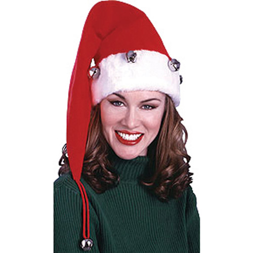 Santa Hat with Bells Adult Christmas Accessory