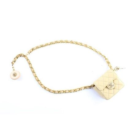 a58800abb Chanel - Chain Belt Fanny Pack Waist Pouch 227070 Beige Leather ...
