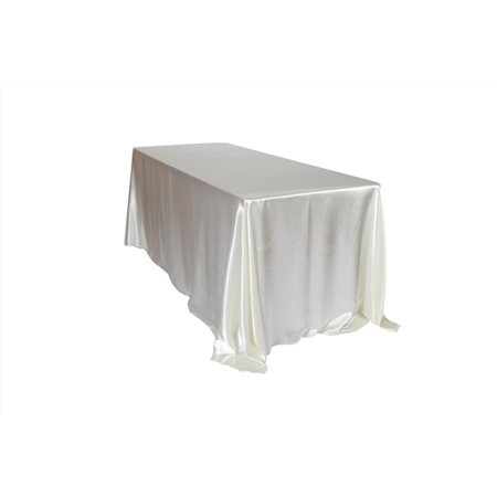 YCC Linen - 90 x 132 inch Rectangular Satin Tablecloth - Ivory Sequin Tablecloth
