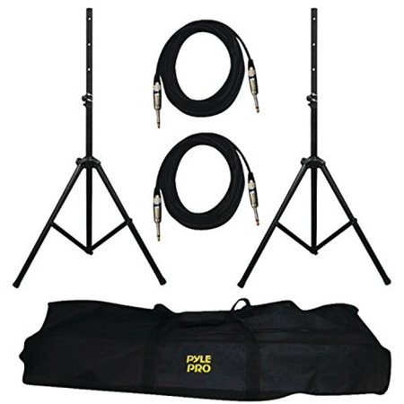 "PYLE-PRO PMDK102 – Heavy-Duty Aluminum Anodizing Dual Speaker Stand & 1/4"" Cable Kit"
