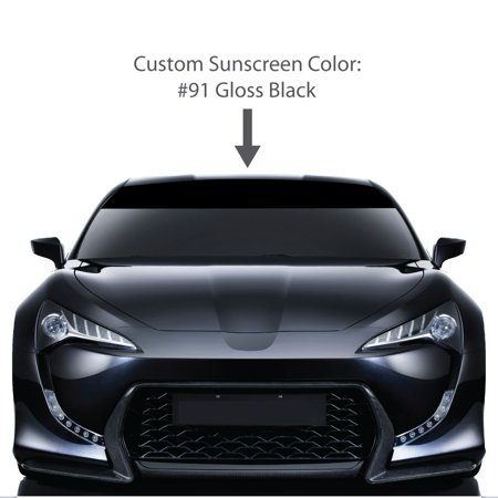 "8"" x 60"" Windshield Visor Sun Screens. / BLACK / Universal Fit / car truck auto vehicle van sticker tape strip stripe vinyl solid sunscreen window decal / Custom Made By 1060 Graphics."