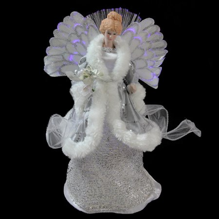 13 Quot Lighted Fiber Optic Angel In Silver Gray Gown