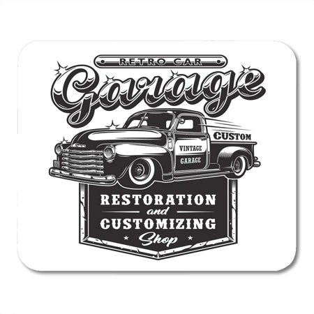 LADDKE Vintage Retro Car Repair Garage Sign Truck Custom Restoration Pickup Automotive Mousepad Mouse Pad Mouse Mat 9x10 inch (Pass With Care Sign)