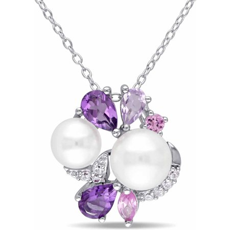 Tangelo 6.5-7mm and 7.5-8mm White Round Cultured Freshwater Pearl with Multi-Gemstone Sterling Silver Link Pendant, - Multi Gemstone Butterfly Pendant