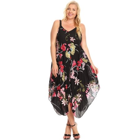 Floral Plus Size Loose Fit Asymmetric Spring Time V Neck Dress