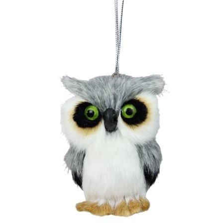 "3.5"" Gray and White Furry Woodland Owl Christmas Ornament"