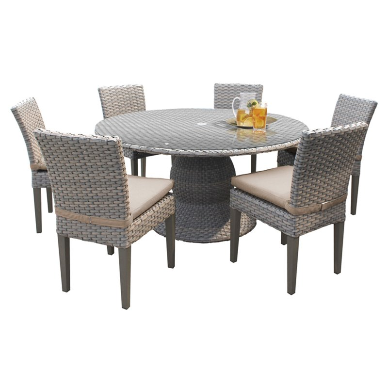 Oasis 60 Round Glass Top Patio Dining Table With 6 Chairs In Wheat Walmart Com Walmart Com