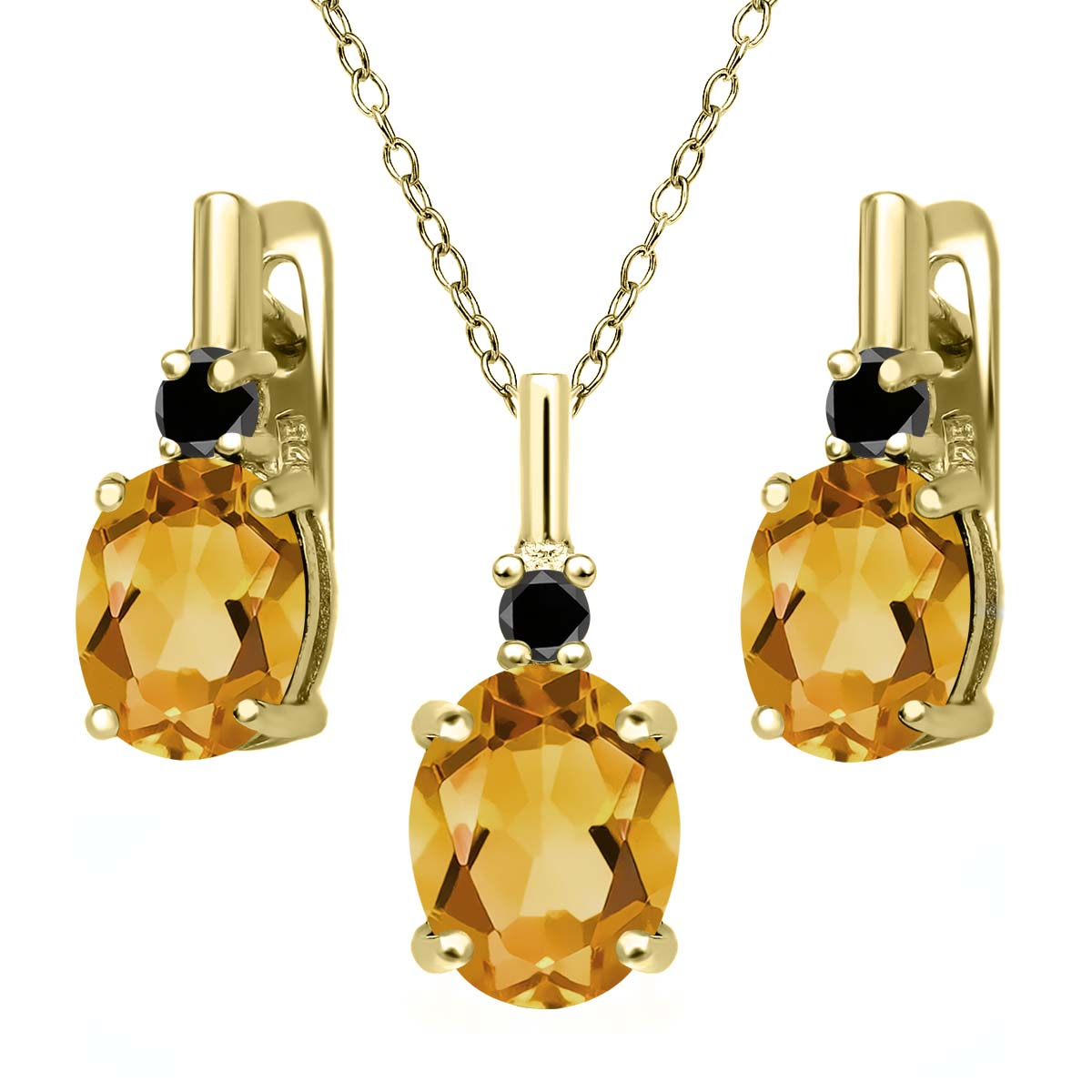 3.52 Ct Yellow Citrine Black Diamond 18K Yellow Gold Plated Silver Pendant Earrings Set by