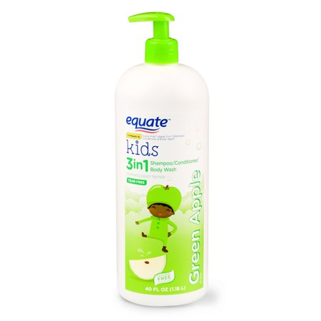 Equate Kids 3 in 1 Shampoo/Conditioner/Body Wash, Green Apple, Tear Free, 40 Oz