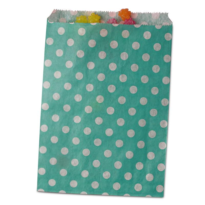 25ea - 8-1/2 X 11 Teal Polka Dot Merchandise Bag-Pkg by Paper Mart