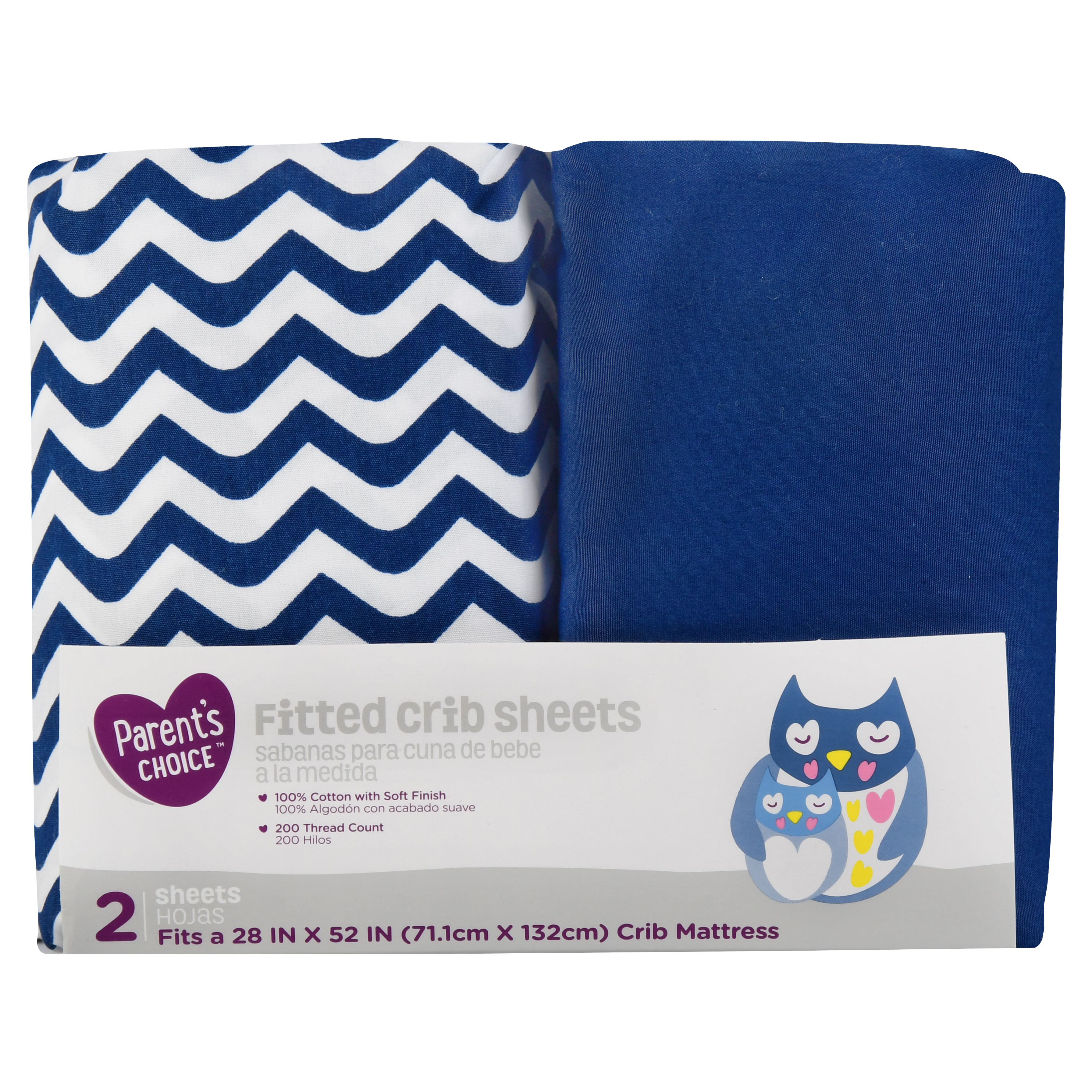 Parent's Choice Fitted Crib Sheets, Navy Print, 2 Pack