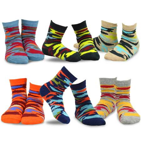 TeeHee Kids Cotton Fashion Crew Socks 6 Pair Pack for Boys