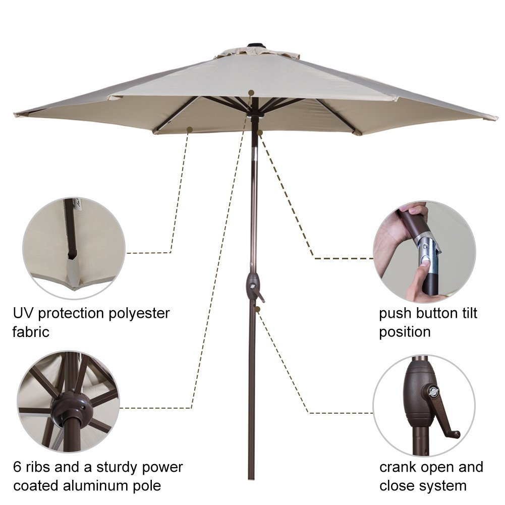65ad25ae1 Abba Patio 9-Ft Market Outdoor Aluminum Table Patio Umbrella with Push  Button Tilt and Crank, Beige - Walmart.com