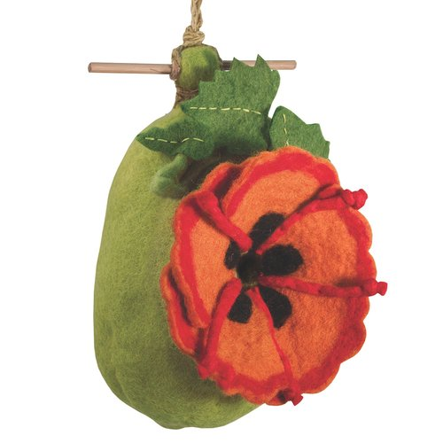 Global Crafts Poppy Felt 9 in x 6 in x 3 in Birdhouse