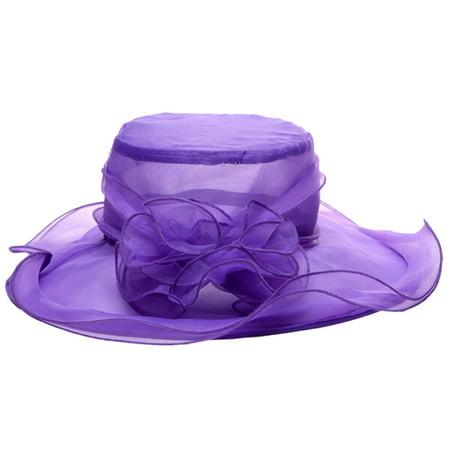 Fashion Women Girl Floppy Elegant Summer Beach Kentucky Derby Wide Brim Church Hat(Purple) - Kentucky Derby City