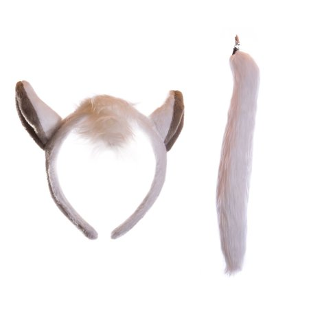 Wildlife Tree Plush White Horse Ears Headband and Tail Set for Horse Costume, Cosplay, Pretend Animal Play or Farm Party Costumes