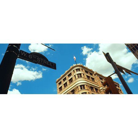 Low Angle View Of Building With Road Sign 6Th Street Austin Texas Usa Canvas Art   Panoramic Images  27 X 9