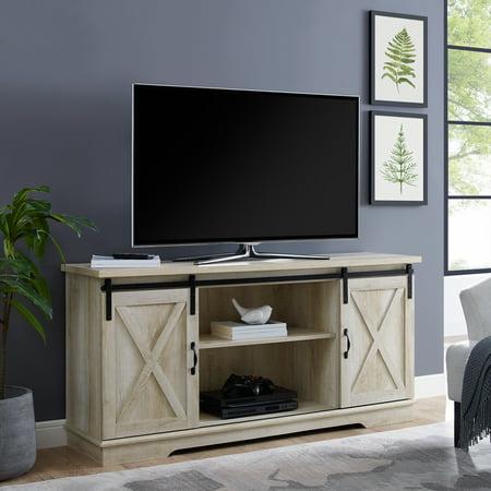 promo code b23d4 827e0 WALMART-Manor Park 58″ Modern Farmhouse Sliding Barn Door TV Stand – Solid  White Oak