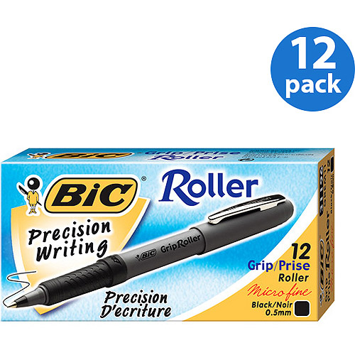 BIC Grip Roller Pen, 0.5mm, Black, 1-Dozen