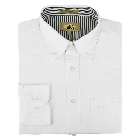 AKA Mens 100% Cotton Button Down Collar Casual Shirt (Big Sizes Available) White Small