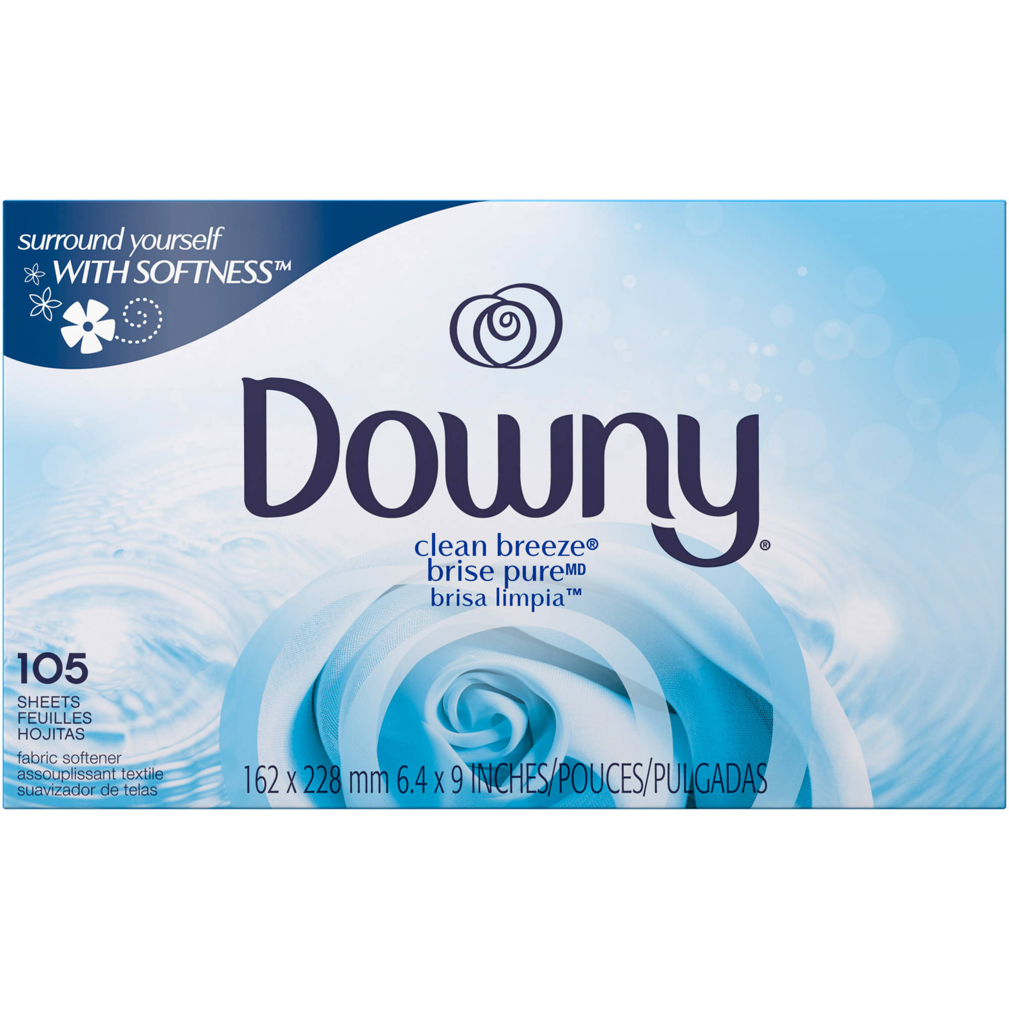 Downy Clean Breeze Fabric Softener Dryer Sheets, 105 count