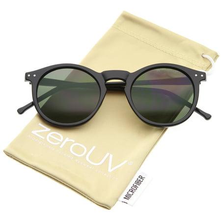 zeroUV - Retro Horn Rimmed Keyhole Nose Bridge P3 Round Sunglasses 49mm - (Electric Noise Sunglasses)