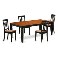 East West Furniture Logan 5 Piece Splat Back Dining Table Set