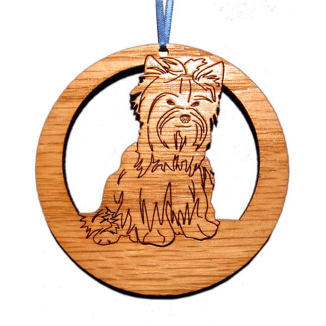 CAMIC designs DOG013N Laser-Etched Yorkshire Terrier Dog Ornaments - Set of 6
