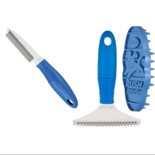 Oster ShedMonster Undercoat Rake, Debris Comb & Rush Brush, 3 Piece Grooming Kit