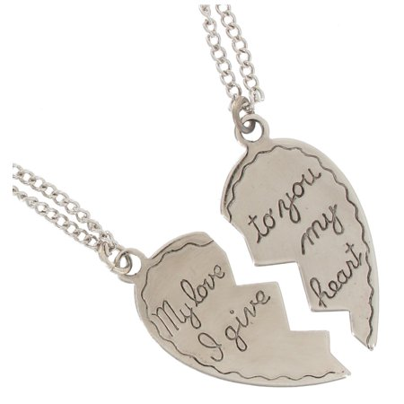 """My love I give to you my heart"" Broken Heart Sweetheart Couples Pendant Necklaces Silver Tone Set"