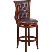 30 In. High Dark Chestnut Wood Bar Stool with Hepatic Leather Swivel Seat by Wooden Bar Stools