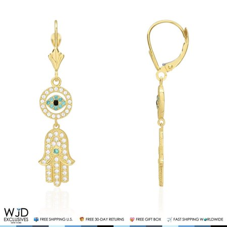 14K Yellow Gold Created Diamond Hamsa Evil Eye Dangle Leverback Earrings 14k Leverback Dangle Earrings