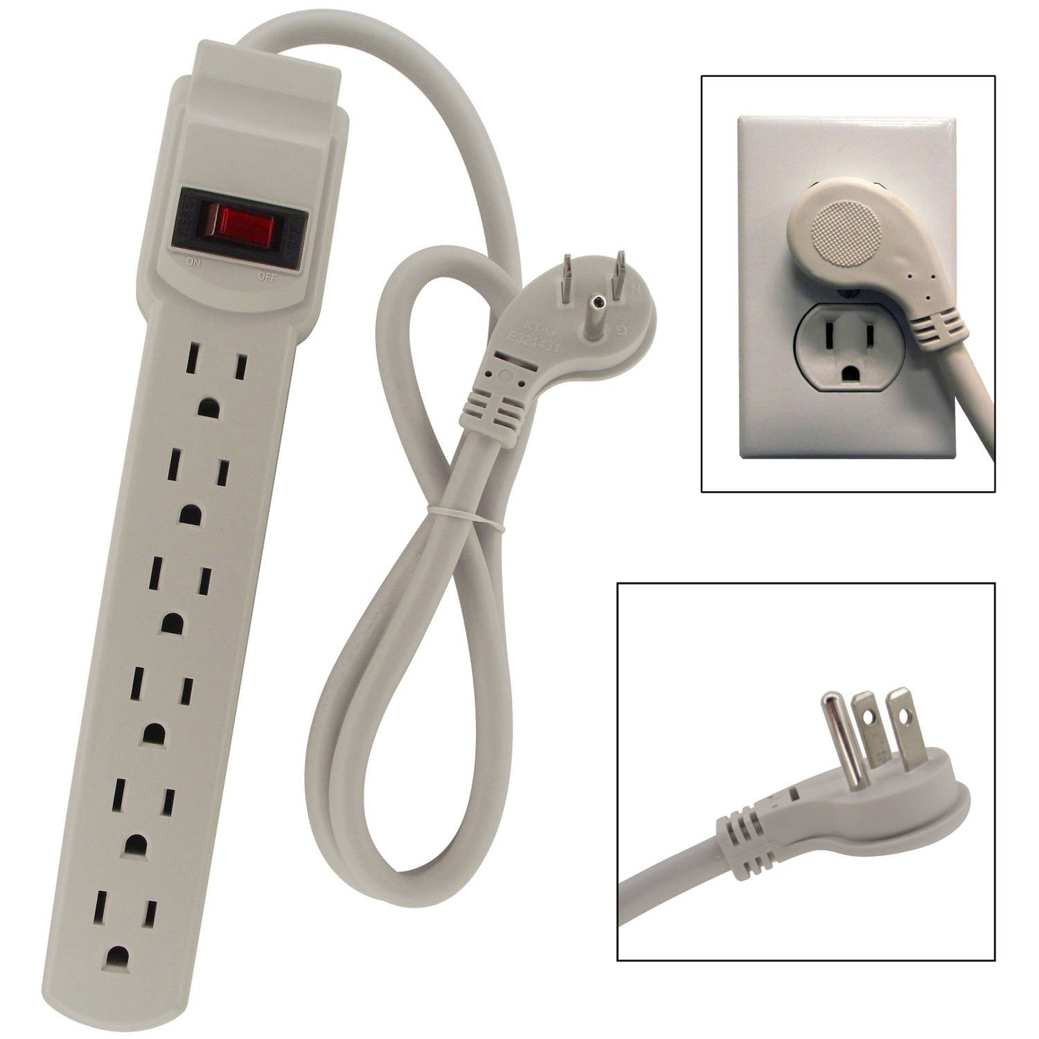 Shaxon 6-Outlet Power Strip with 3' Cord 45-Degree Angle Flat Plug