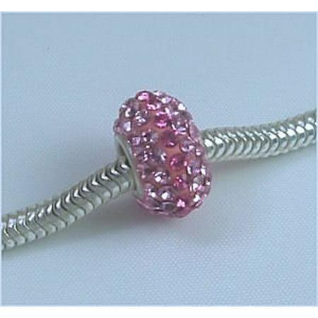 Swarovski ROSE Pink LT ROSE Crystals Pave fits Pandora Troll Biagi Chamilia European Charm Bead](Chamilia Beads Halloween)