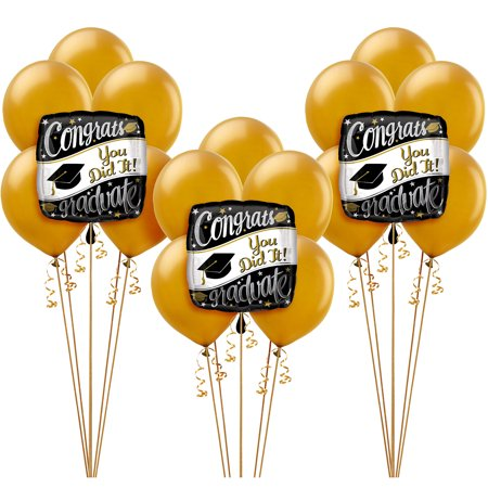 Party City Graduation Balloon Kit, Includes Foil Balloons, Latex Balloons, and Balloon Weights