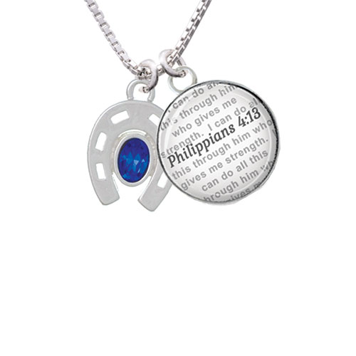 Horseshoe with Oval Blue Crystal - Bible Verse Philippians 4:13 Glass Dome Necklace