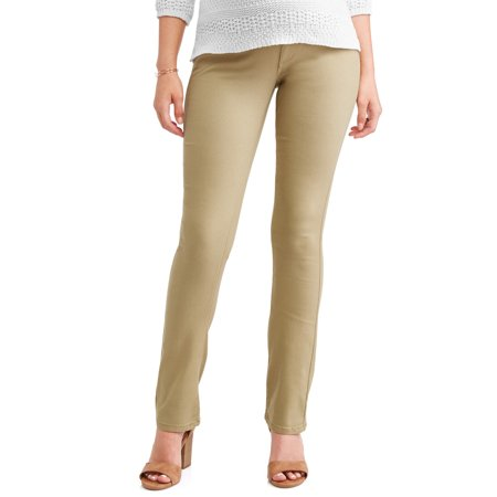 Maternity Perfect Khaki (Oh! Mamma Maternity Under Belly Stretch Twill Bootcut Pants - Available in Plus Sizes)