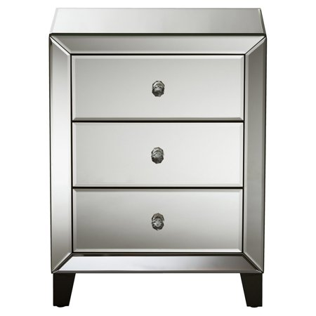 Baxton Studio Chevron Modern and Contemporary Hollywood Regency Glamour Style Mirrored 3-Drawers Nightstand Bedside Table ()