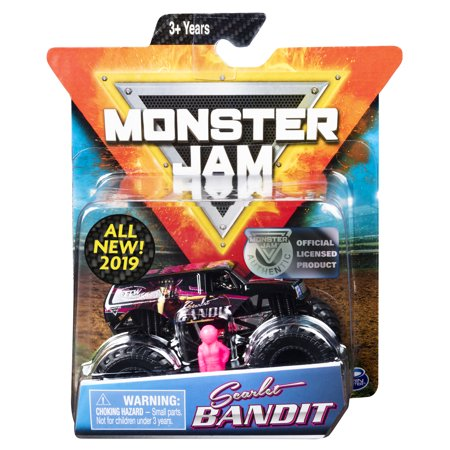 Bandit Monster Truck (Monster Jam, Official Scarlet Bandit Monster Truck, Die-Cast Vehicle, Danger Divas Series, 1:64 Scale)