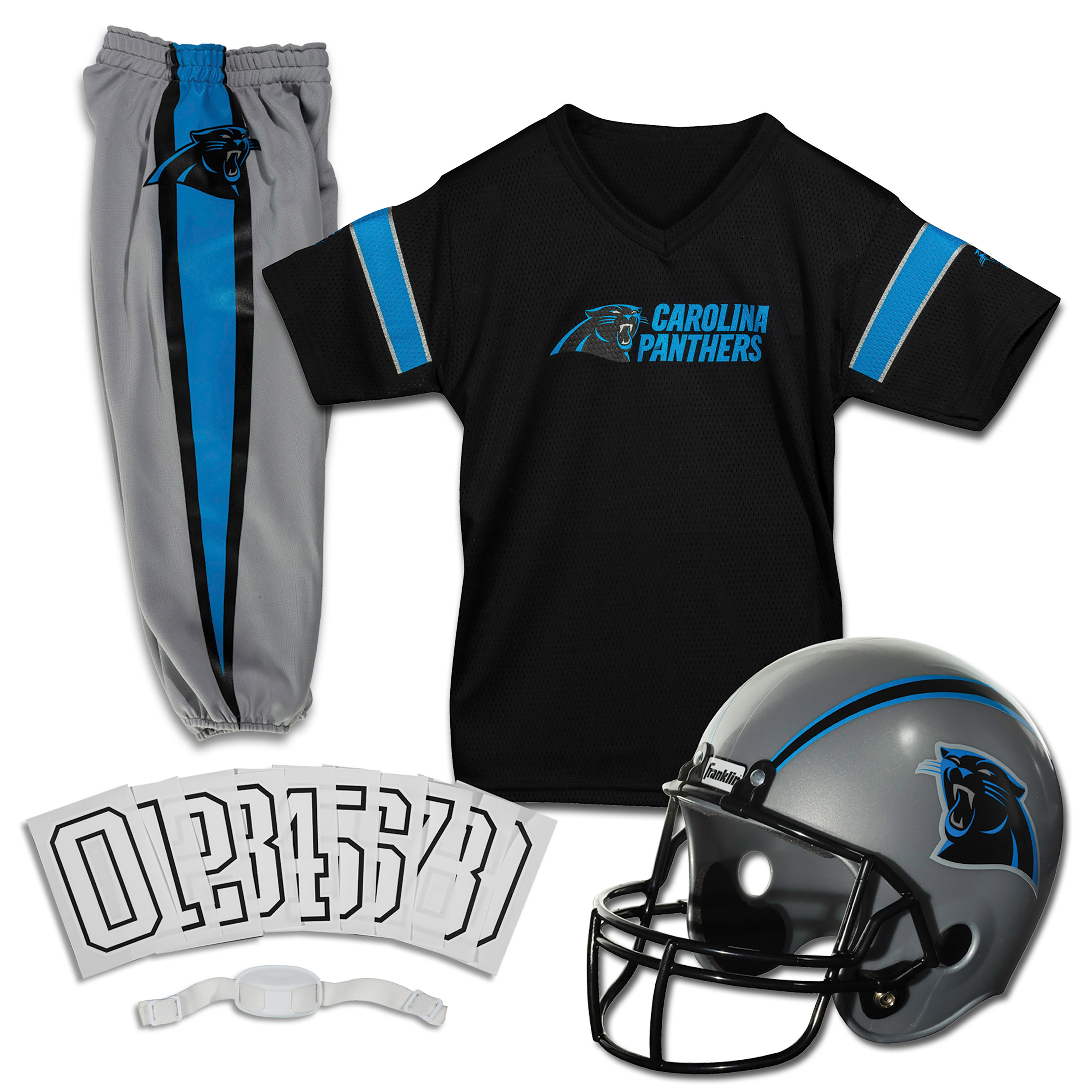 Franklin Sports NFL Carolina Panthers Youth Licensed Deluxe Uniform Set, Small