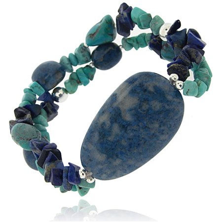 Denim Lapis, Created Turquoise Chips and Nuggets Sterling Silver Stretch Bracelet, 7.5""
