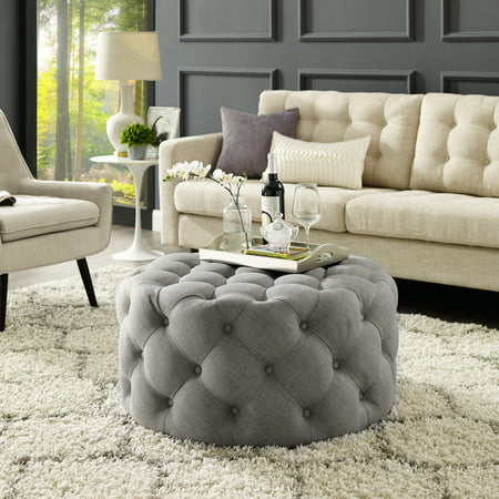Fabulous Tracy Grey Linen Cocktail Ottoman Allover Tufted Round Castered Legs Modern Contemporary Short Links Chair Design For Home Short Linksinfo