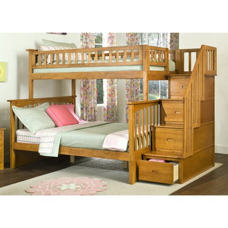Atlantic Furniture Columbia Staircase Bunk Bed Twin Over Full In